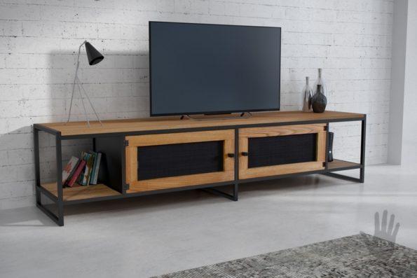 Szafka RTV APRIL-industrialna komoda z metalu i drewna
