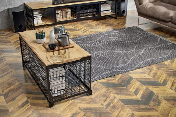 Stolik kawowy Siatka – Meble z drewna i metalu