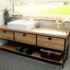 Szafka łazienkowa HD-połączenie drewna i metalu