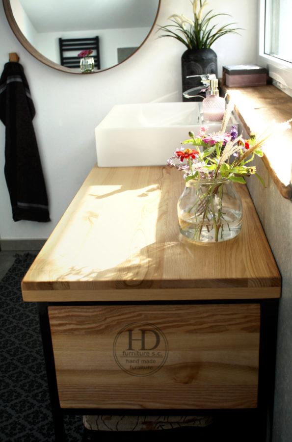 szafka metalowo drewniana pod umywalkę