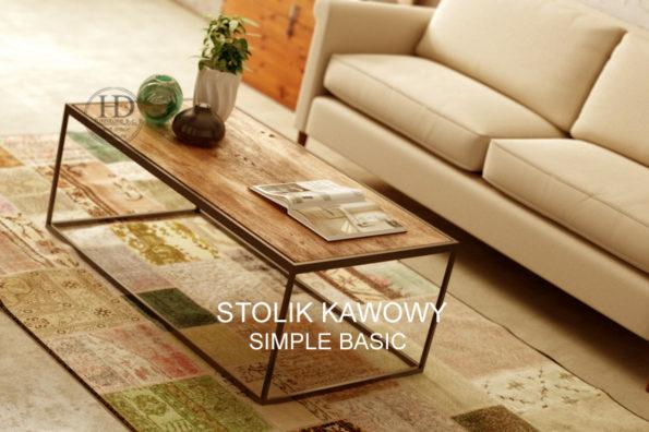 Stolik kawowy Simple BASIC-z drewna i metalu
