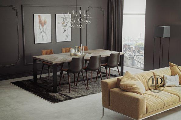 Stół Wolf industrialny styl połączenie drewna i metalu