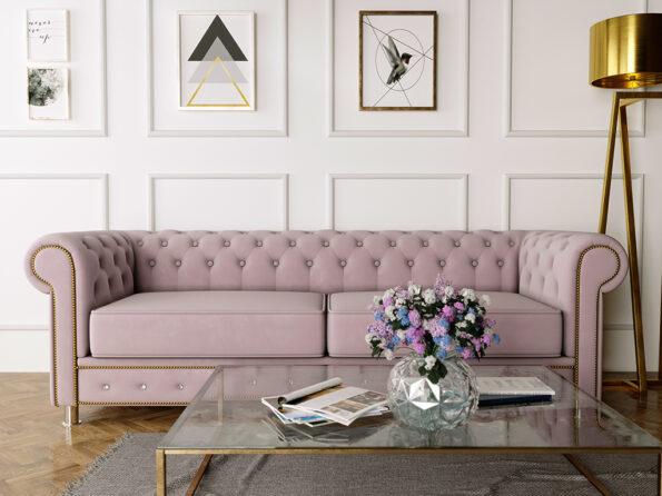 Sofa Chesterfield różowa