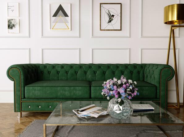 Sofa Chesterfield zielona