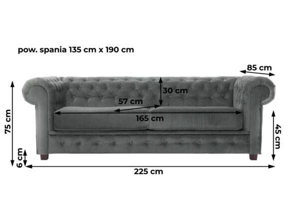 Sofa Chesterfield szara