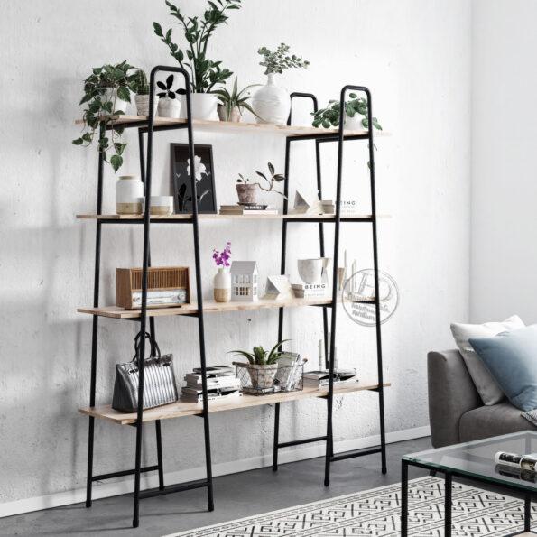 Ladder - Regał metalowo drewniany