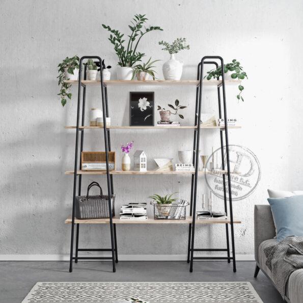 Ladder-industrialny regał z metalu i drewna